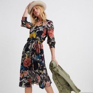 Lucky brand abstract floral wrap dress